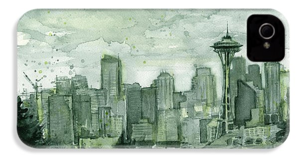 Seattle Skyline Watercolor Space Needle IPhone 4 Case by Olga Shvartsur
