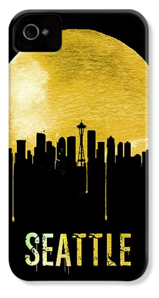 Seattle Skyline Yellow IPhone 4 / 4s Case by Naxart Studio