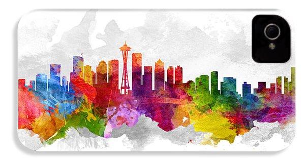 Seattle Washington Cityscape 13 IPhone 4 Case by Aged Pixel