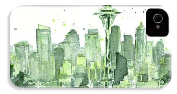 Seattle Watercolor IPhone 4 Case
