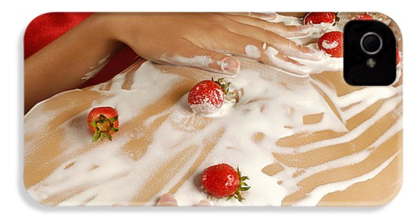 Sexy Nude Woman Body Covered With Cream And Strawberries IPhone 4 / 4s Case by Oleksiy Maksymenko