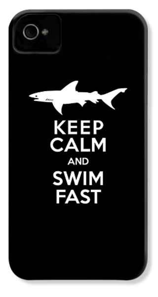 Shark Keep Calm And Swim Fast IPhone 4 Case by Antique Images
