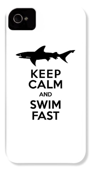 Sharks Keep Calm And Swim Fast IPhone 4 / 4s Case by Antique Images