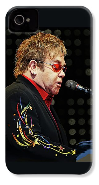 Sir Elton John At The Piano IPhone 4 Case by Elaine Plesser