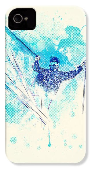 Skiing Down The Hill IPhone 4 Case by BONB Creative