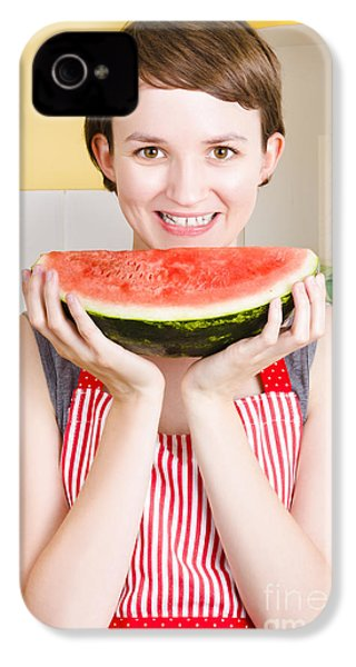 Smiling Young Woman Eating Fresh Fruit Watermelon IPhone 4 Case by Jorgo Photography - Wall Art Gallery