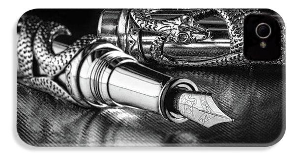 Snake Pen In Black And White IPhone 4 Case by Tom Mc Nemar