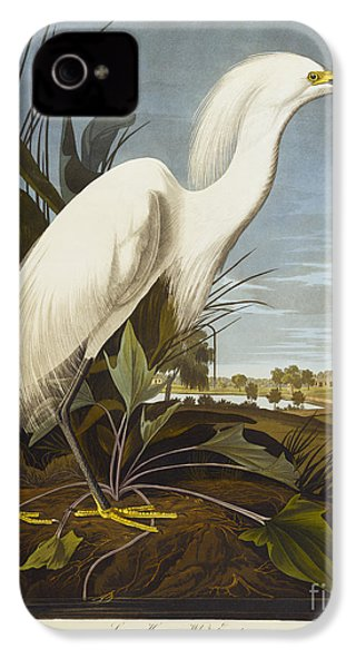 Snowy Heron IPhone 4 Case by John James Audubon