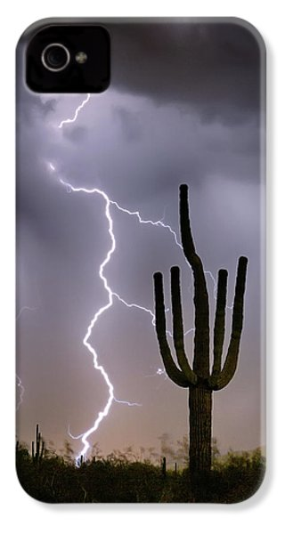 IPhone 4 Case featuring the photograph Sonoran Desert Monsoon Storming by James BO Insogna