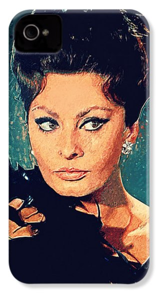 Sophia Loren IPhone 4 Case by Taylan Apukovska