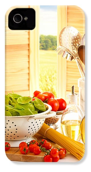 Spaghetti And Tomatoes In Country Kitchen IPhone 4 Case by Amanda Elwell