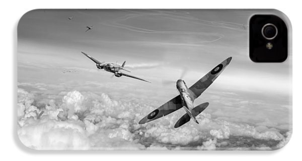IPhone 4 Case featuring the photograph Spitfire Attacking Heinkel Bomber Black And White Version by Gary Eason