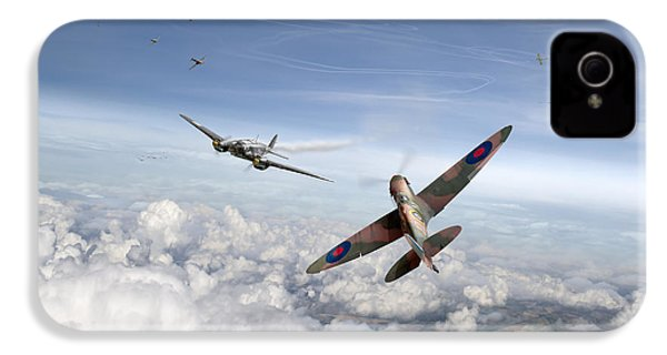 IPhone 4 Case featuring the photograph Spitfire Attacking Heinkel Bomber by Gary Eason