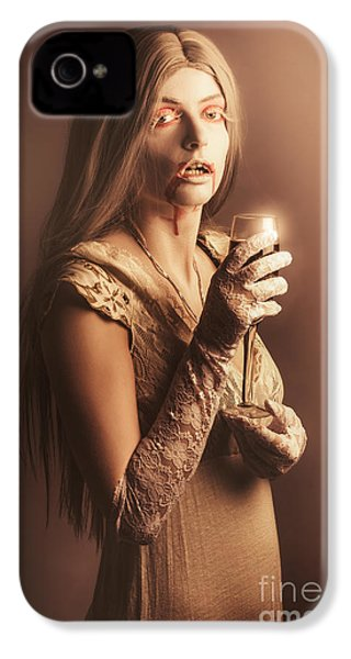 Spooky Vampire Girl Drinking A Glass Of Red Wine IPhone 4 Case by Jorgo Photography - Wall Art Gallery