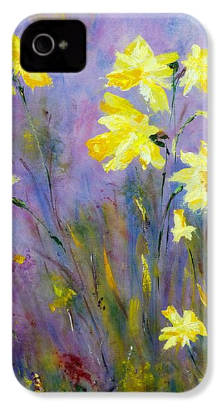 IPhone 4 Case featuring the painting Spring Daffodils by Claire Bull