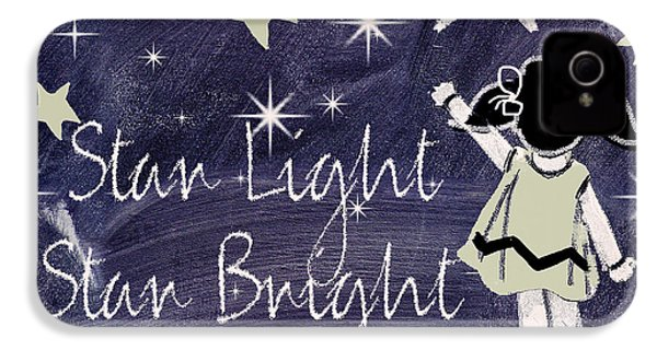 Star Light Star Bright Chalk Board Nursery Rhyme IPhone 4 Case by Mindy Sommers