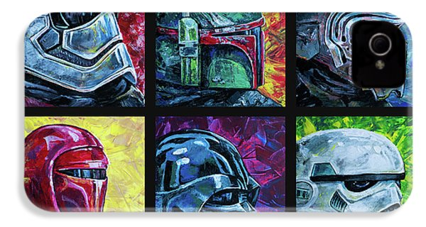 IPhone 4 Case featuring the painting Star Wars Helmet Series - Collage by Aaron Spong
