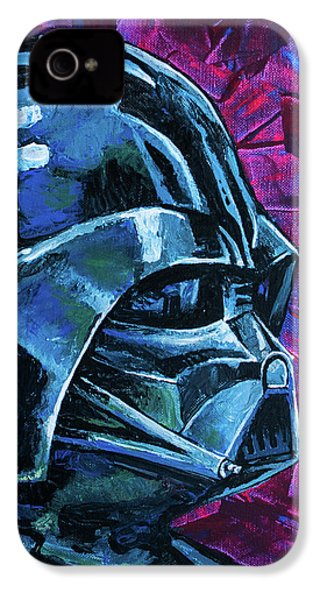 IPhone 4 Case featuring the painting Star Wars Helmet Series - Darth Vader by Aaron Spong