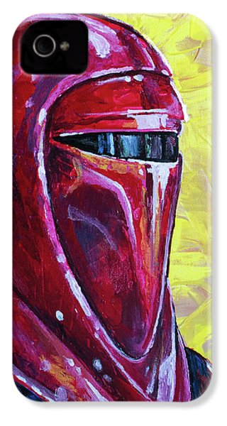 IPhone 4 Case featuring the painting Star Wars Helmet Series - Imperial Guard by Aaron Spong