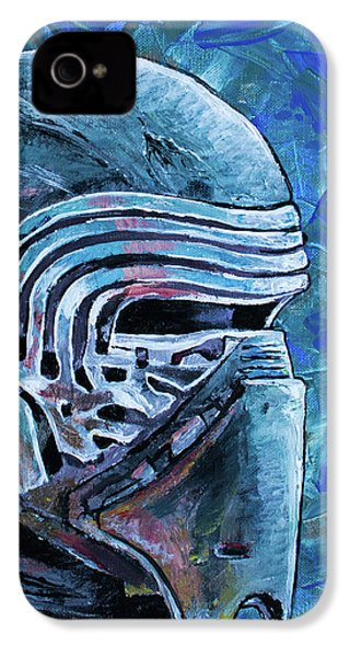 IPhone 4 Case featuring the painting Star Wars Helmet Series - Kylo Ren by Aaron Spong