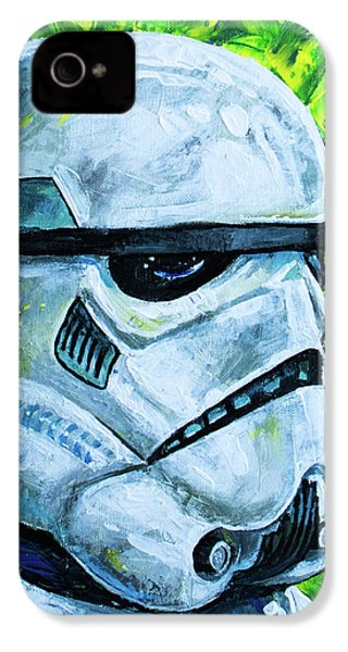 IPhone 4 Case featuring the painting Star Wars Helmet Series - Storm Trooper by Aaron Spong