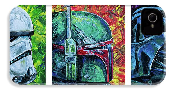 IPhone 4 Case featuring the painting Star Wars Helmet Series - Triptych by Aaron Spong