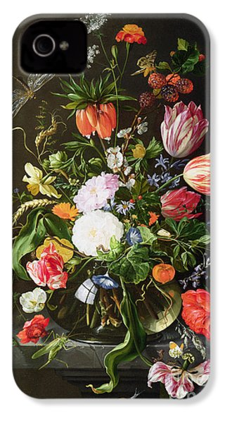 Still Life Of Flowers IPhone 4 / 4s Case by Jan Davidsz de Heem