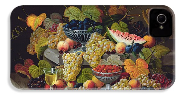 Still Life Of Melon Plums Grapes Cherries Strawberries On Stone Ledge IPhone 4 Case by Severin Roesen