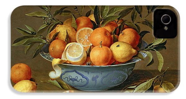 Still Life With Oranges And Lemons In A Wan-li Porcelain Dish  IPhone 4 Case by Jacob van Hulsdonck