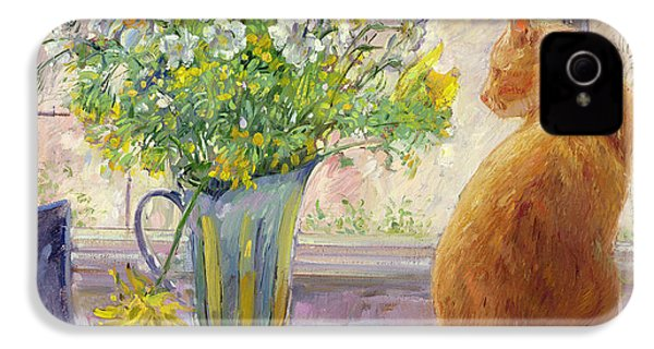 Striped Jug With Spring Flowers IPhone 4 / 4s Case by Timothy Easton