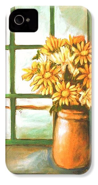 IPhone 4 Case featuring the painting Sunflowers In Window by Winsome Gunning