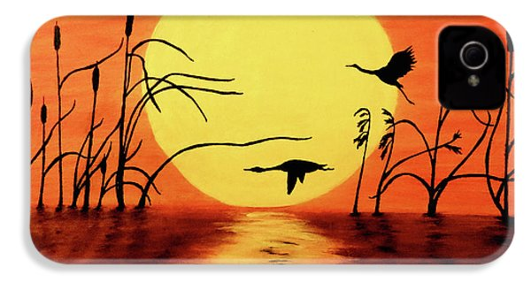 Sunset Geese IPhone 4 Case by Teresa Wing