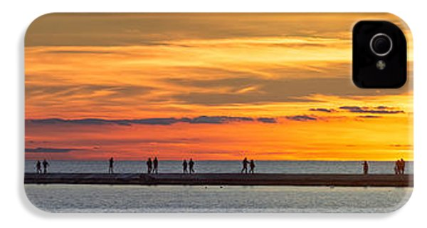 IPhone 4 Case featuring the photograph Sunset Over Ludington Panoramic by Adam Romanowicz