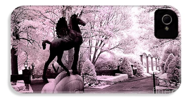Surreal Infared Pink Black Sculpture Horse Pegasus Winged Horse Architectural Garden IPhone 4 Case by Kathy Fornal