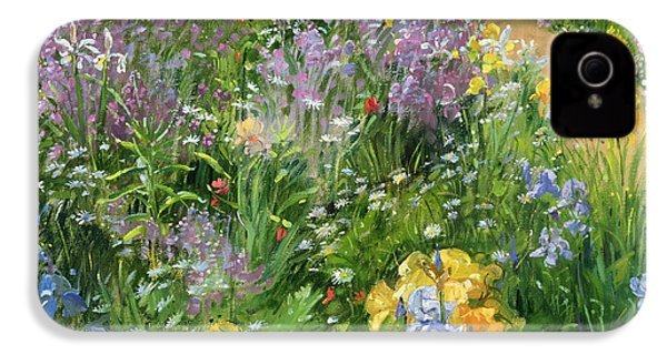 Sweet Rocket - Foxgloves And Irises IPhone 4 Case by Timothy Easton