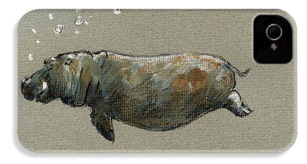 Swimming Hippo IPhone 4 / 4s Case by Juan  Bosco