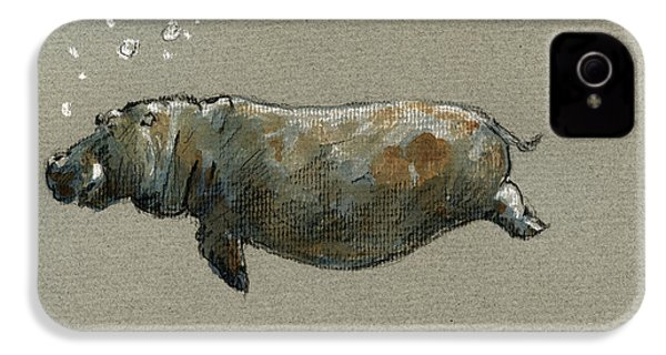 Swimming Hippo IPhone 4 Case by Juan  Bosco