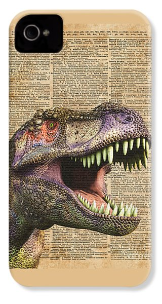 T-rex,tyrannosaurus,dinosaur Vintage Dictionary Art IPhone 4 Case by Jacob Kuch