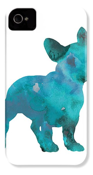 Teal Frenchie Abstract Painting IPhone 4 Case by Joanna Szmerdt