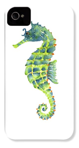 Teal Green Seahorse IPhone 4 Case by Amy Kirkpatrick