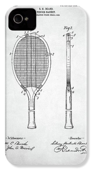 Tennis Racket Patent 1907 IPhone 4 / 4s Case by Taylan Apukovska