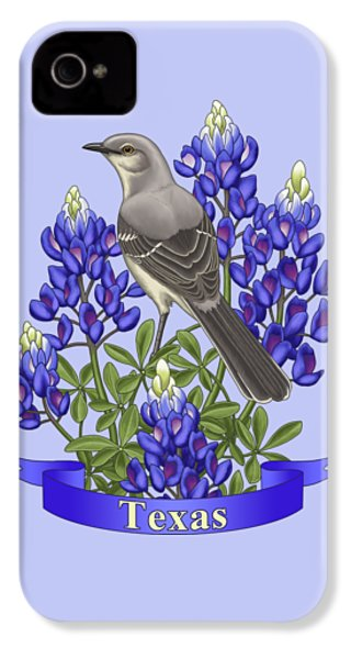 Texas State Mockingbird And Bluebonnet Flower IPhone 4 / 4s Case by Crista Forest