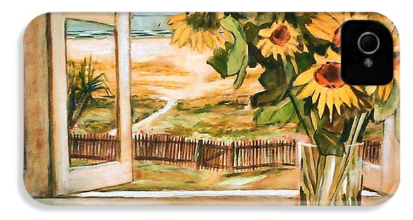 IPhone 4 Case featuring the painting The Beach Sunflowers by Winsome Gunning