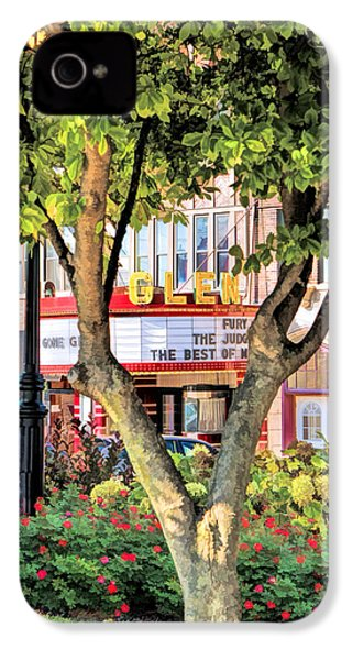 IPhone 4 Case featuring the painting The Glen Movie Theater by Christopher Arndt