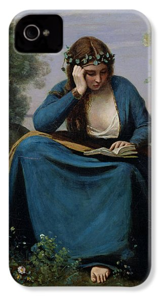 The Reader Crowned With Flowers IPhone 4 / 4s Case by Jean Baptiste Camille Corot