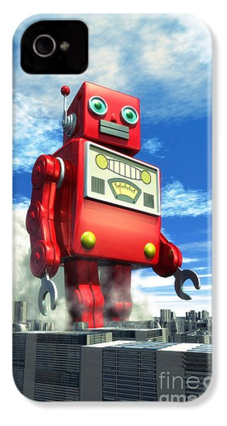The Red Tin Robot And The City IPhone 4 / 4s Case by Luca Oleastri