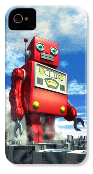 The Red Tin Robot And The City IPhone 4 Case by Luca Oleastri