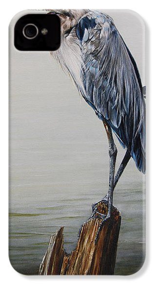 The Sentinel - Portrait Of A Great Blue Heron IPhone 4 / 4s Case by Anton Oreshkin