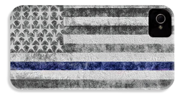 IPhone 4 Case featuring the digital art The Thin Blue Line American Flag by JC Findley