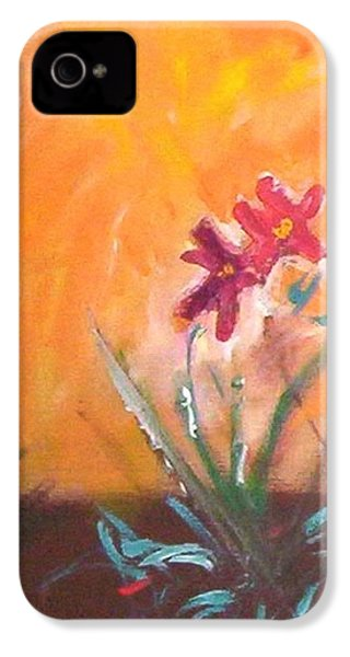 IPhone 4 Case featuring the painting The Three Daisies by Winsome Gunning